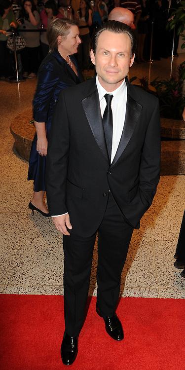 Christian Slater arrives for the White House Correspondents Dinner in Washington, DC