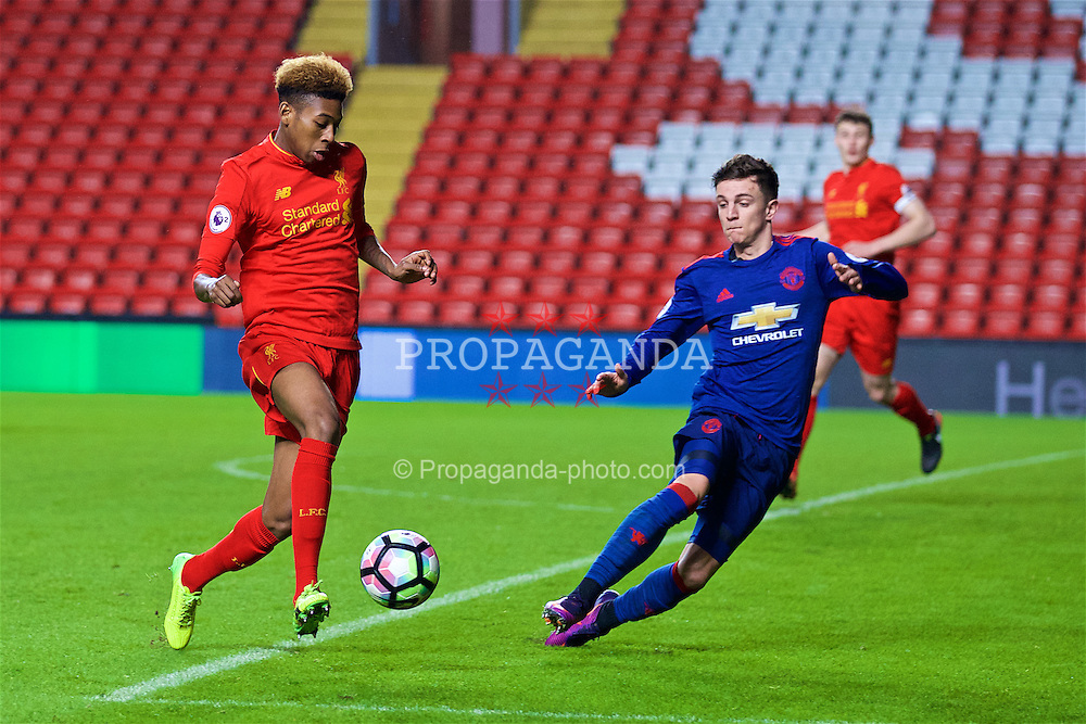 LIVERPOOL, ENGLAND - Monday, January 16, 2017: Liverpool's Kane Lewis in action against Manchester United during FA Premier League 2 Division 1 Under-23 match at Anfield. (Pic by David Rawcliffe/Propaganda)