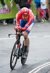 © Licensed to London News Pictures. 10/09/2016. Bristol, UK. The Tour of Britain cycle race 2016. Picture of  TOM DUMOULIN who started the day in overall second place, and came third in the time trial. Photo credit : Simon Chapman/LNP