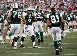 Aug 14, 2009; East Rutherford, NJ, USA;   New York Jets quarterback Mark Sanchez (6) congratulates New York Jets offensive tackle Mike Kracalik (76) and New York Jets tight end Dustin Keller (81) after a touchdown drive during the first half at Giants Stadium.