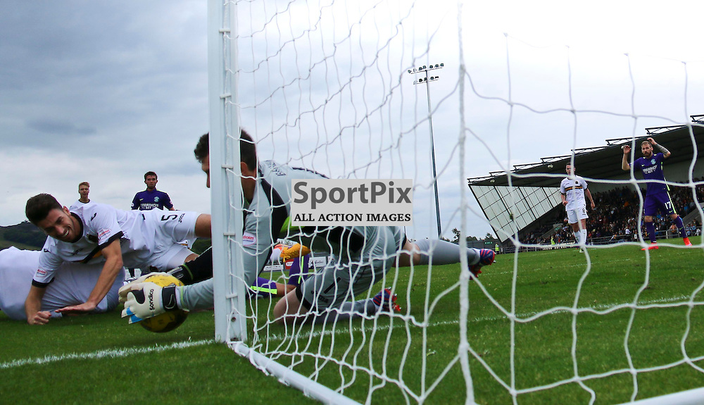 Mark Brown saves at his left hand side to stop Hibs equalizing <br /> <br /> <br /> <br /> <br /> <br /> <br /> (c) Andy Scott | SportPix.org.uk