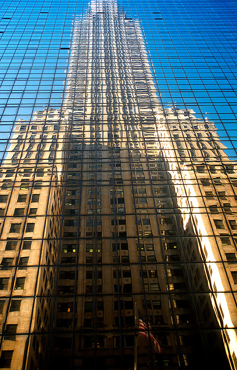 USA NEW YORK CITY NOV97 - The Chrysler Building is reflected in glass panels of the building opposite along 42nd Street. Photography by Jiri Rezac<br /> Tel 0044 07947 884 517<br /> www.linkphotographers.com