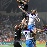 NZ All Black Sevens defeated Scotland 33-0 on the first day of the Hong Kong Sevens, Hong Kong. Photo by Barry Markowitz, (Courtesy STP/TriMarine) 3/28/14, 8:24pm