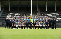 20170715 - Charleroi, Belgium / Photoshoot Sporting Charleroi 2017 - 2018 / <br /> <br /> Back row (L-R) : Florent STEVANCE - Kaveh REAZAEI - Clinton MATA - Steeven WILLEMS - Cristian BENAVENTE - Joachim IMBRECHTS - Gaetan HENDRICKX - Marco ILAIMAHARITRA - Mamadou FALL - Dorian DESSOLEIL - Dodi LUKEBAKIO<br /> <br /> Middle row : Pierre-Yves HENDRICKX (Administrative director) - Nathan RODES - Cristophe DIANDY - David POLLET - Chris BEDIA - Gjoko ZAJKOV - Parfait MANDANDA - Valentin BAUME - Nicolas PENNETEAU - Clement TAINMONT - Amara BABY - Benjamin BOULANGER - Julien CELESTINE - Frederic BORLEE (Doctor) - Arnaud CHARLIER (Team manager) - Walter CHARDON (Commercial director)<br /> <br /> Front row : Frederic VANBELLE (Physiotherapist) - David DALMUT (Logistic) - Michel IANACONNE (Keeper trainer) - Francis N'GANGA - Jordan REMACLE - Stergos MARINOS - Mehdi BAYAT (CEO) - Felice MAZZU - Fabien DEBECQ (Chairman) - Javier MARTOS - Enes SAGLIK - Nurio FORTUNA - Mario NOTARO (Physical coach) - Philippe SIMONIN (Assistant physical coach)<br /> <br /> Picture Vincent Van Doornick / Isosport
