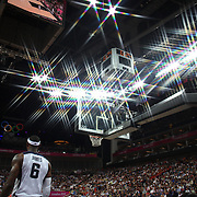 Lebron James, USA, in action during the Men's Basketball Final between USA and Spain at the North Greenwich Arena during the London 2012 Olympic games. London, UK. 12th August 2012. Photo Tim Clayton