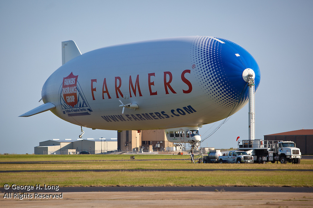 Farmers Insurance Group blimp docked at Lakefront Airport during the first weekend of the New Orleans Jazz & Heritage Festival