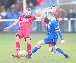 GARY STOHRER KETTERING TOWN BATTLES WITH STRATFORDS LEE THOMAS  Kettering Town v Stratford Town Evo Stik Southern League Latimer Park, Saturday 9th December 2017. Score 2-0