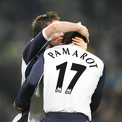 MANCHESTER, ENGLAND - WEDNESDAY, JANUARY 4th, 2006: Tottenham Hotspur's Robbie Keane celebrates scoring the second goal against  Manchester City with his team-mate Noe Pamarot during the Premiership match at the City of Manchester Stadium. (Pic by David Rawcliffe/Propaganda)