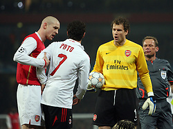 LONDON, ENGLAND - Wednesday, February 20, 2008 : Arsenal's Phillipe Senderos and Jens Lehmann remonstrate with AC Milan's Pato after a late challenge during the UEFA Champions 1st Knockout Round, 1st Leg match at The Emirates Stadium. (Photo by Chris Ratcliffe/Propaganda)