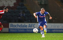 Lewis Alessandra scores Rochdale's second goal for 2-1  - Mandatory byline: Matt McNulty/JMP - 07966 386802 - 06/10/2015 - FOOTBALL - Spotland Stadium - Rochdale, England - Rochdale v Chesterfield - Johnstones Paint Trophy