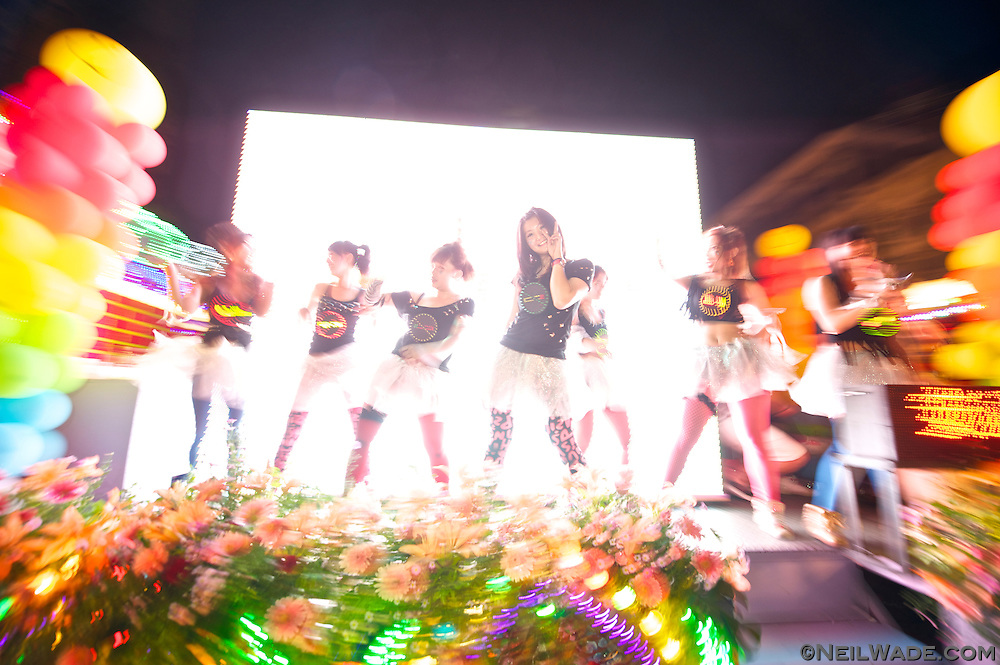 "Dancing girls promote ""No Smoking"" at the 2011 Keelung Ghost Festival Parade."