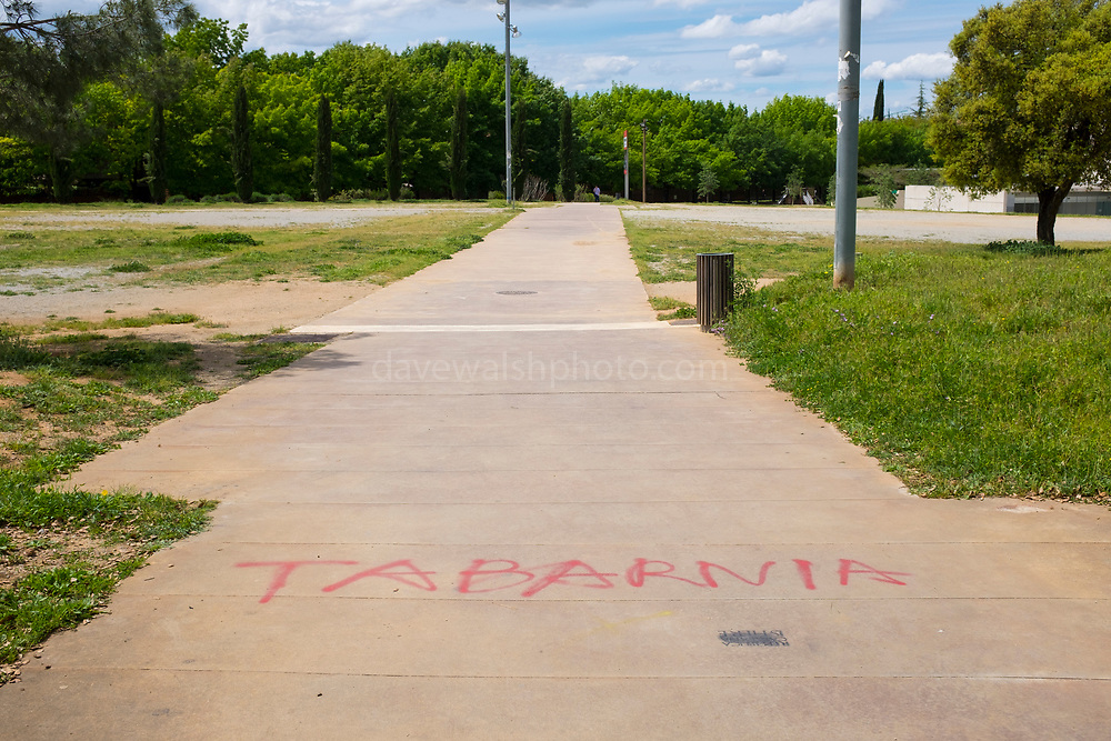 Tabernia - right wing graffiti  in Sant Cugat del Valles near Barcelona. Sant Cugat is a predominantly Catalan-independence town - this graffiti is a provocative pro-Spain symbol. Tabernia is a claimed state within Catalonia, supported by pro-Spanish supporters.