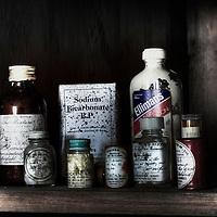 vintage pills bottles at derelict Potters Mansion