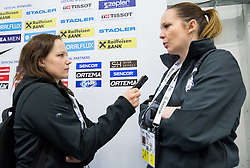 Journalist Petra Mavric and Manca Marc Globevnik, physiotherapist during practice session of Slovenian Ice Hockey National Team at Day 4 of 2015 IIHF World Championship, on May 4, 2015 in Practice arena Vitkovice, Ostrava, Czech Republic. Photo by Vid Ponikvar / Sportida