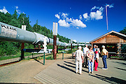 Alaska. Fairbanks. Guests at the Trans-Alaska pipeline visitor center on Steese Highway.
