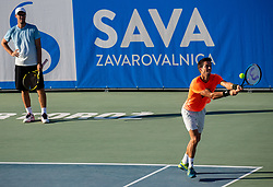 Miha Mlakar, coach and Aljaz Bedene of Slovenia at practice session during Day 10 of ATP Challenger Zavarovalnica Sava Slovenia Open 2019, on August 18, 2019 in Sports centre, Portoroz/Portorose, Slovenia. Photo by Vid Ponikvar / Sportida