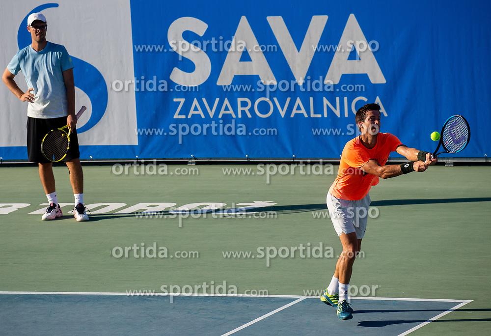 Miha Mlakar, coach and Aljaz Bedene of Slovenia at practice session during Day 10 of ATP Challenger Zavarovalnica Sava Slovenia Open 2019, on August 18, 2019 in Sports centre, Portoroz/Portorose, Slovenia. Photo by Vid Ponikvar / Sportida