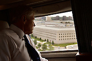 Secretary of Defense Chuck Hagel looks out the window of Marine One at the Pentagon as he returns from delivering the commencement address at the United States Naval Academy in Annapolis, Md., May 23, 2014. DoD Photo by Glenn Fawcett (Released)