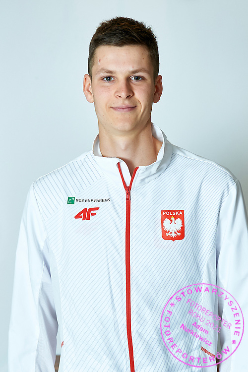 GDANSK, POLAND - 2016 MARCH 03: Hubert Hurkacz of Poland pose to the portrait's picture after official draw while press conference one day before the Davies Cup / World Group 1st round tennis match between Poland and Argentina at Ergo Arena on March 3, 2016 in Gdansk, Poland<br /> <br /> Picture also available in RAW (NEF) or TIFF format on special request.<br /> <br /> Any editorial, commercial or promotional use requires written permission.<br /> <br /> Mandatory credit:<br /> Photo by &copy; Adam Nurkiewicz / Mediasport