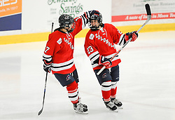 PITTSBURGH, PA - OCTOBER 14:  Amber Rennie #23 of the Robert Morris Colonials is greeted by Jaycee Gebhard #17 after scoring a goal in the first period during the game against the Vermont Catamounts at 84 Lumber Arena on October 14, 2016 in Pittsburgh, Pennsylvania. (Photo by Justin Berl)