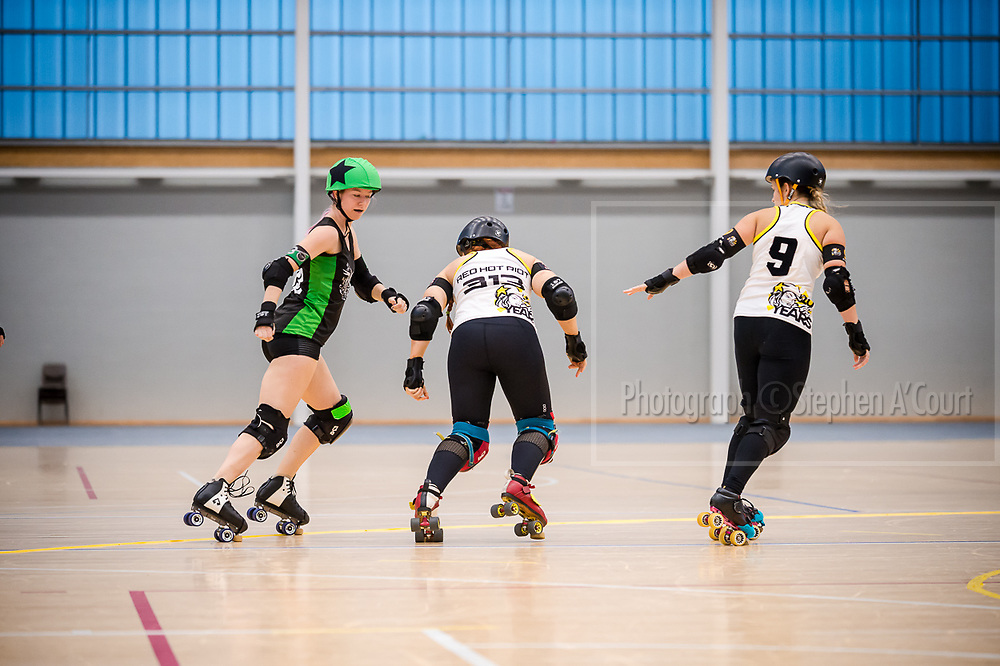 Lower Hutt, NZ. 15 October 2017. Quake, Battle & Roll, hosted by Richter City Roller Derby. Photo credit: Stephen A'Court. COPYRIGHT ©Stephen A'Court