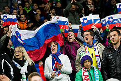 Supporters of Slovenia during football match between National teams of Slovenia and England in Round #3 of FIFA World Cup Russia 2018 Qualifier Group F, on October 11, 2016 in SRC Stozice, Ljubljana, Slovenia. Photo by Vid Ponikvar / Sportida