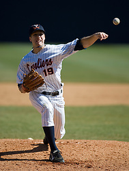 Virginia Cavaliers LHP Pat McAnaney (19) in action against Cornell.  The #16 ranked Virginia Cavaliers baseball team defeated the Cornell Big Red 12-2 at the University of Virginia's Davenport Field in Charlottesville, VA on March 1, 2008.