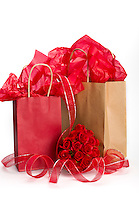 Saint Valentine giftbags presents with roses and ribbons.
