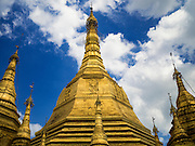04 NOVEMBER 2015 - YANGON, MYANMAR:  Sule Pagoda is located in the heart of downtown Yangon, occupying the center of the city. According to legend, it was built before the Shwedagon Pagoda during the time of the Buddha, making it more than 2,500 years old. The Sule Pagoda has been the focal point of both Yangon and Burmese politics. It was a rallying point in both the 1988 uprisings and 2007 Saffron Revolution.       PHOTO BY JACK KURTZ