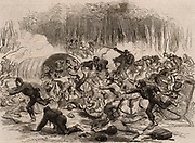 American Civil War 1861-1865. First Battle of Bull Run (Manassas, Virginia). Defeat and stampede of the Union troops, 21 July 1861. From 'The Illustrated London News' (London, 1861). Engraving.