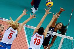 01-10-2014 ITA: World Championship Volleyball Servie - Nederland, Verona<br /> Nederland verliest met 3-0 van Servie em is uitgeschakeld voor de final 6 / Celeste Plak slaat de bal over het blok Natasa Krsmanovic, Tijana Boskovic