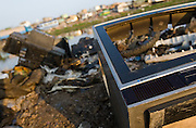 The plastic casing of a Blaupunkt television lays among other trash near the Agbogboloshie market in Accra, Ghana on Thursday August 21, 2008.