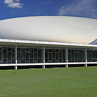 South America, Brazil, Brasilia. Brazil's National Congress buildings, designed by architect Oscar Neimeyer, and a UNESCO World Heritage Site.