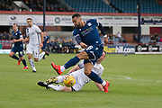 14th September 2019; Dens Park, Dundee, Scotland; Scottish Championship, Dundee Football Club versus Alloa Athletic; Kane Hemmings of Dundee is tackled by Andy Graham of Alloa Athletic