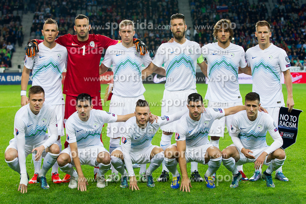 Players of team Slovenia during the EURO 2016 Qualifier Group E match between Slovenia and Lithuania, on October 9, 2015 in SRC Stozice, Ljubljana Slovenia. Photo by Urban Urbanc / Sportida