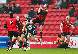 Bristol Rugby Flanker Nick Koster is beaten to the takes a high ball ball - Mandatory byline: Rogan Thomson/JMP - 30/01/2016 - RUGBY UNION - Ashton Gate Stadium - Bristol, England - Bristol Rugby v Jersey - Greene King IPA Championship.