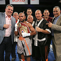 "Jonathan ""Pitbull"" Vidal celebrates his victory over Juan Kantun during a ""Boxeo Telemundo"" boxing match at the Kissimmee Civic Center on Friday, July 18, 2014 in Kissimmee, Florida.  Vidal won the bout by TKO an won the WBO Latin super flyweight title . (AP Photo/Alex Menendez)"