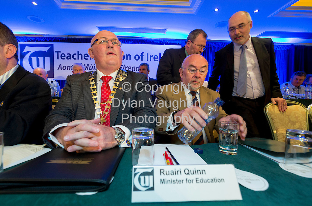 Repro Free no Charge for Repro<br /> 23/4/14<br /> <br /> Gerard Craughwell President TUI and the Minister for Education and Skills, Ruair&iacute; Quinn T.D. pictured at the TUI Conference at the Newpark Hotel in Kilkenny.<br /> Picture Dylan Vaughan.