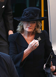 Natalia Grosvenor, Duchess of Westminster, arriving for a memorial service to celebrate the life of her husband, the sixth Duke of Westminster at Chester Cathedral, Chester.