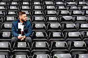 A lone Derby fan during the Sky Bet Championship match between Derby County and Wolverhampton Wanderers at the iPro Stadium, Derby, England on 18 October 2015. Photo by Alan Franklin.