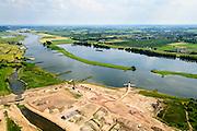 Nederland, Utrecht, Gemeente Rhenen, 26-06-2014;  Neder-rijn met Elster Buitenwaarden.<br /> In het kader van het programma Ruimte voor de Rivier is de steenfabriek gesloopt (schoorsteen blijft behouden) en worden de uiterwaarden afgegraven. Rivier de Rijn krijgt hierdoor meer de ruimte en hoogwater kan sneller afgevoerd worden.<br /> Floodplain over Lower Rhine is excavated and former brickworks are demolished. This results in more space for the rover and floods can be drained more quickly.<br /> luchtfoto (toeslag op standaard tarieven);<br /> aerial photo (additional fee required);<br /> copyright foto/photo Siebe Swart.