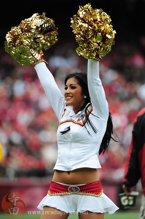 October 11, 2009; San Francisco, CA, USA; San Francisco 49ers Gold Rush cheerleader Deanna Ortega performs during the second quarter against the Atlanta Falcons at Candlestick Park. The Falcons defeated the 49ers 45-10. Mandatory Credit: Kyle Terada-Terada Photo