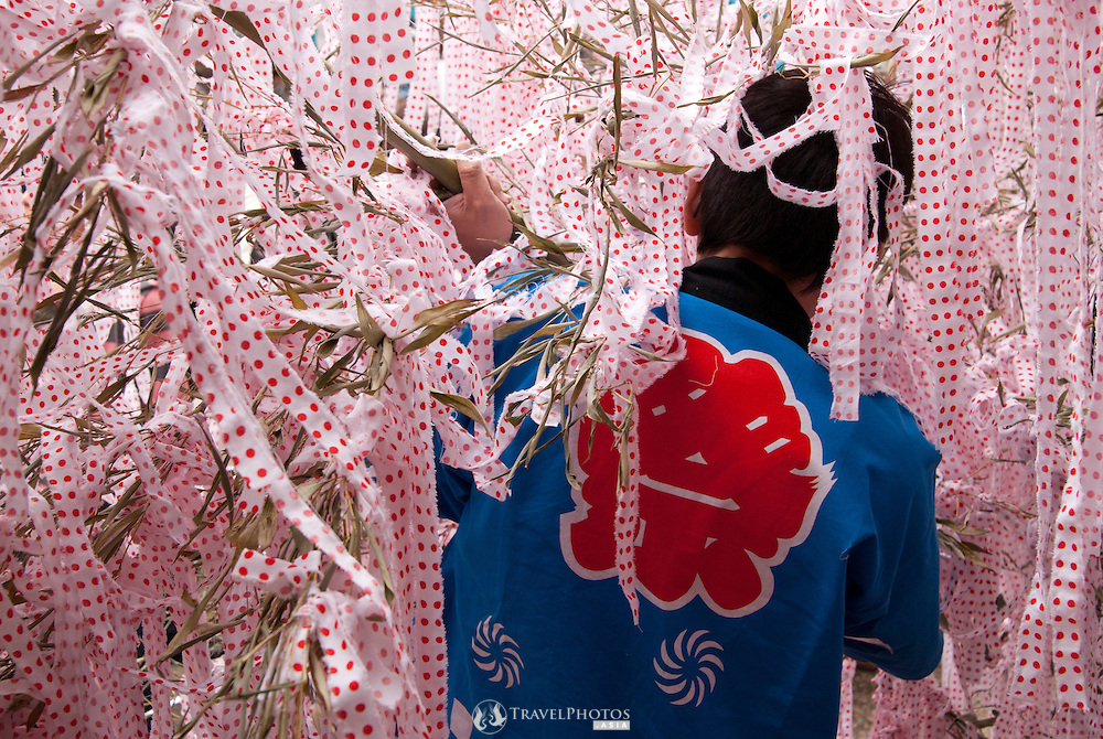 A man carrying a bamboo branch with many white and red-polka dot ribbons tied to it in the Tagata Fertility Festival.