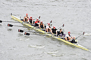 London, Great Britain.<br /> Overal Winner, Masters A Thmaes RC, competing in the 2016 Veterans&rsquo; Head of the River Race, Reverse Championship Course Mortlake to Putney. River Thames. Sunday  20/03/2016<br /> <br /> [Mandatory Credit: Peter SPURRIER;Intersport images]