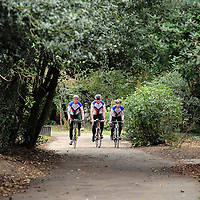 18.02.2012.Hertsmere Borough Council Magazine Shoot. .The new cycle lane at Parkfield in Potters Bar, which connects Byng Drive and the High Street. Pictured are the A-to-B cycling team (L-R) Edward Heseltine, Matt Cardell-Williams and Chris Dixon..Photography © Blake-Ezra Cole. www.blakeezracole.com
