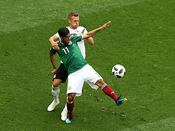 June 17, 2018 - Moscow, Russia - June 17, 2018, Russia, Moscow, FIFA World Cup, First round, Group F, Germany vs Mexico at the Luzhniki stadium. Player of the national team Yozua Kimmieh, Carlos Alberto Vela Garrido (Credit Image: © Russian Look via ZUMA Wire)