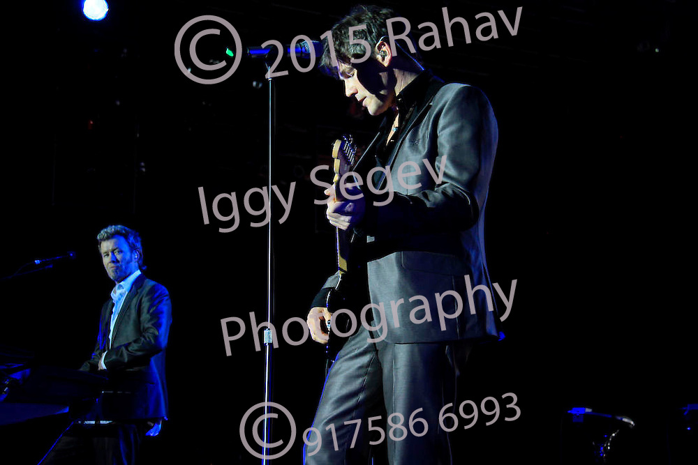 a-ha performing the second of three sold out shows at The Nokia Theater Times Square on May 7, 2010 in New York City. .Morten Harket - vocals.Magne Furuholmen - keyboards (blonde).Paul Waaktaar-Savoy - guitar (blonde)
