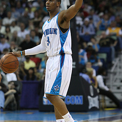 18 February 2009: New Orleans Hornets guard Chris Paul (3) calls out a play during a NBA basketball game between the Orlando Magic and the New Orleans Hornets at the New Orleans Arena in New Orleans, Louisiana.