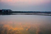 17 JANUARY 2013 - SAMUT SONGKHRAM, SAMUT SONGKHRAM, THAILAND:  Morning clouds are reflected in a still flooded salt field near Samut Songkhram, Thailand. The salt fields around Samut Songkhram are some of the most productive salt fields in Thailand. Salt is gathered on a seasonal basis. The fields, which lie near the Gulf of Siam, are flooded with sea water during the last half of the rainy season and then as the water evaporates off after the rainy season migrant workers collect the salt. In 2013 the salt harvest was delayed by months because it continued to rain well after the traditional end of the rainy season.   PHOTO BY JACK KURTZ