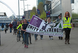 Further Education Lecturers hold a strike rally in Glasgow outside the BBC and STV studios to protest against the refusal of College Management to honour a deal on pay and conditions that was reached more than a year ago, Angie Isac | EEm Thursday 11 May 2017